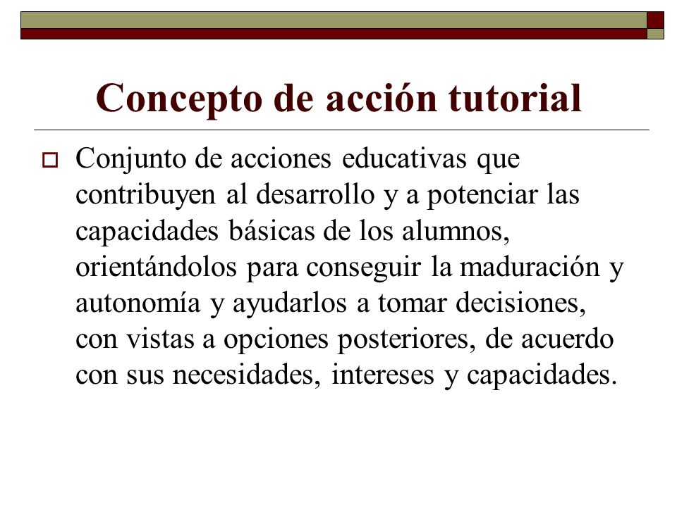 Concepto de acción tutorial