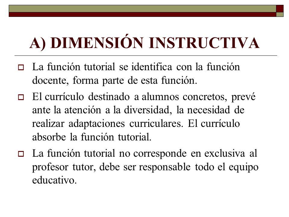 A) DIMENSIÓN INSTRUCTIVA