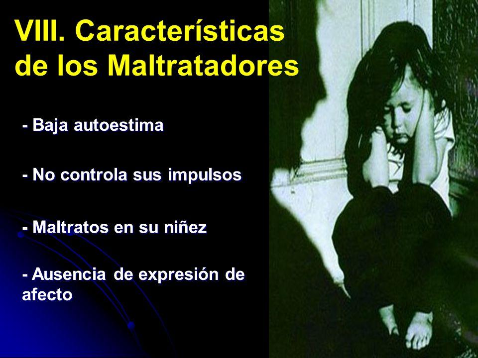 VIII. Características de los Maltratadores - Baja autoestima