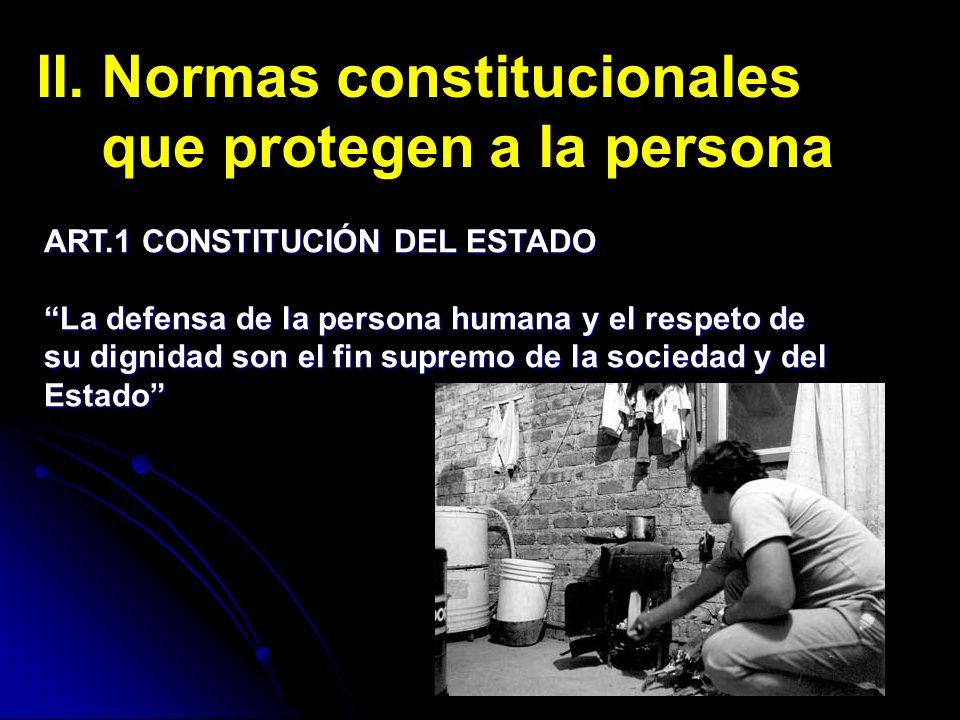 II. Normas constitucionales que protegen a la persona