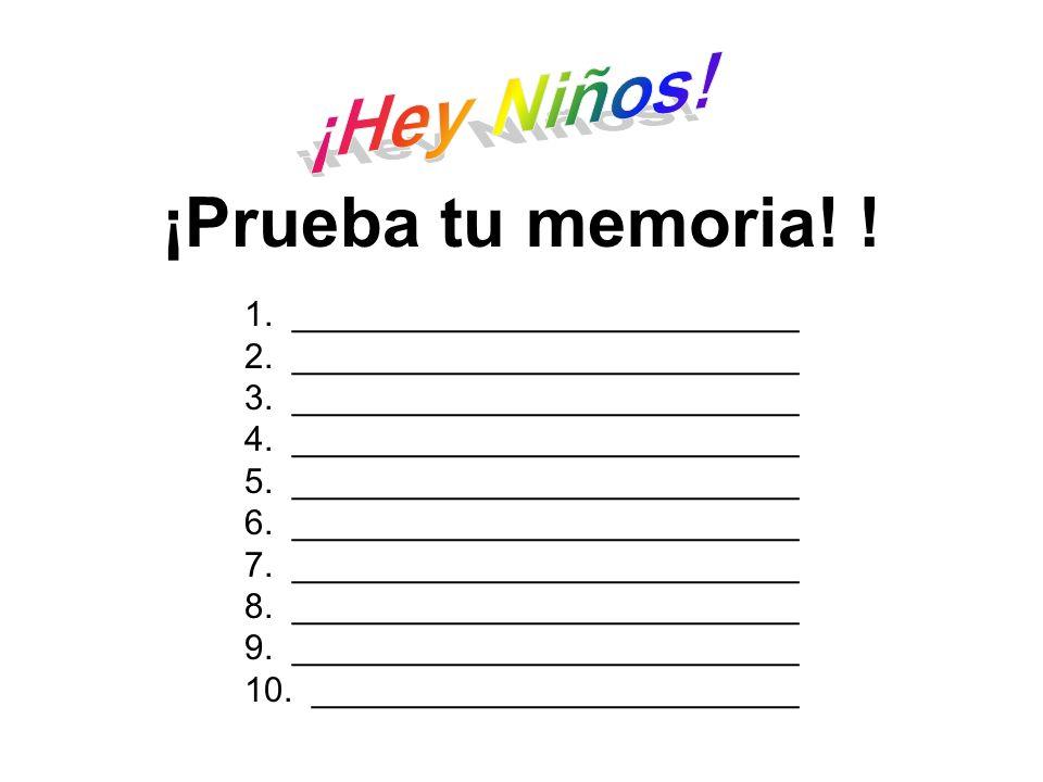 ¡Prueba tu memoria! ! Memorizar ¡Hey Niños!