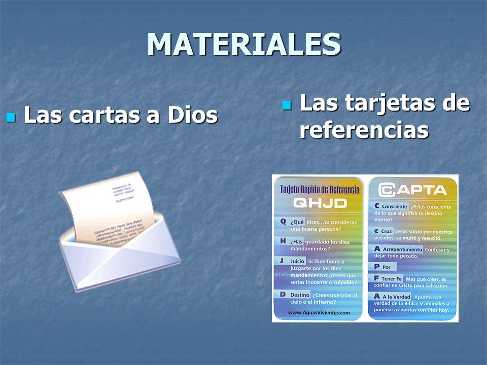 MATERIALES Las tarjetas de referencias Las cartas a Dios
