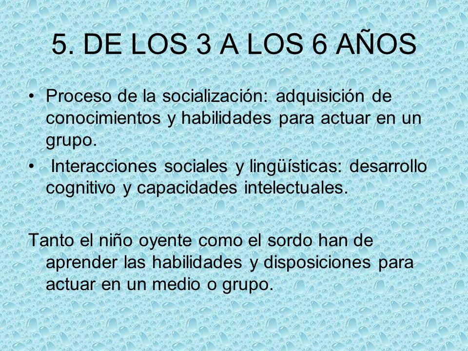 5. DE LOS 3 A LOS 6 AÑOS Proceso de la socialización: adquisición de conocimientos y habilidades para actuar en un grupo.