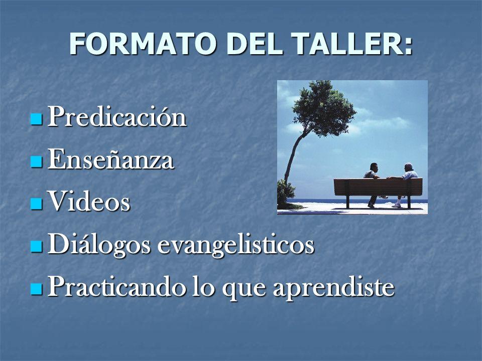 FORMATO DEL TALLER: Predicación. Enseñanza. Videos.