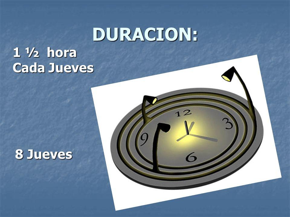 DURACION: 1 ½ hora Cada Jueves 8 Jueves