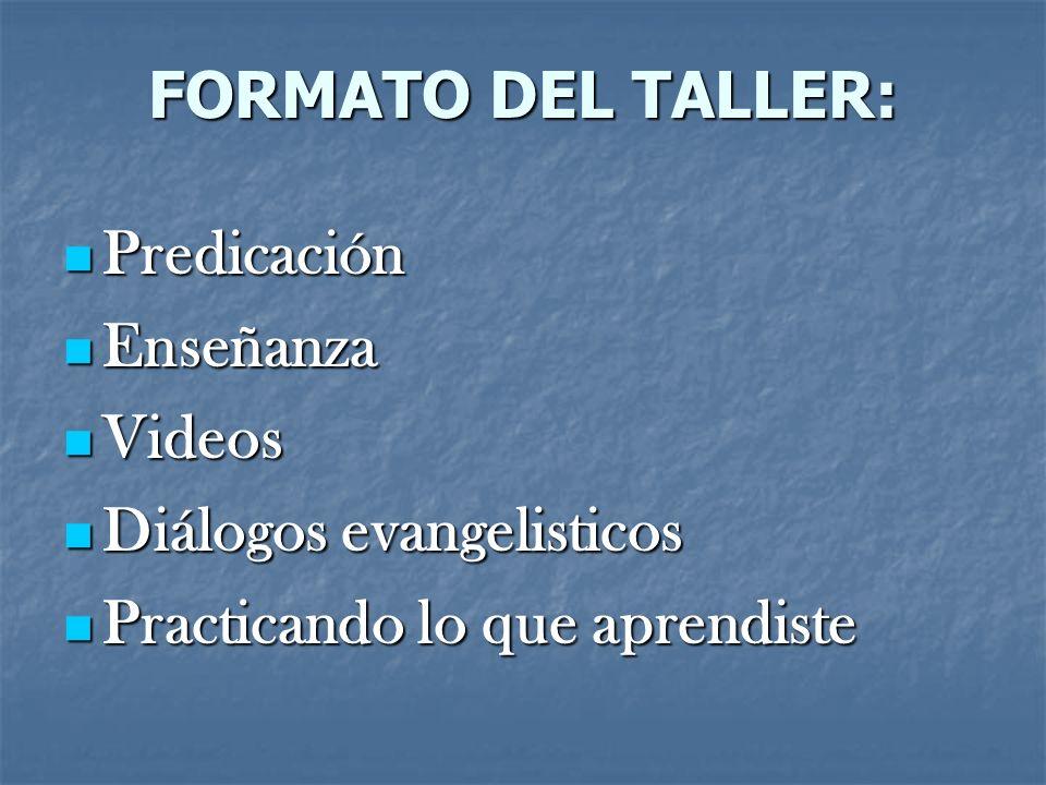 FORMATO DEL TALLER:Predicación.Enseñanza. Videos.