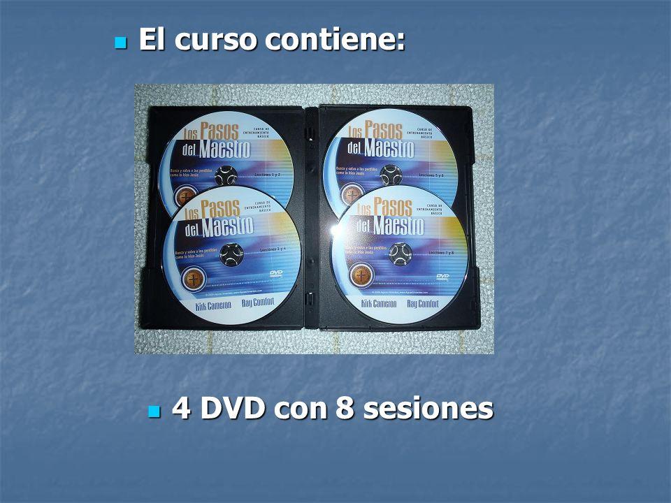 El curso contiene: 4 DVD con 8 sesiones