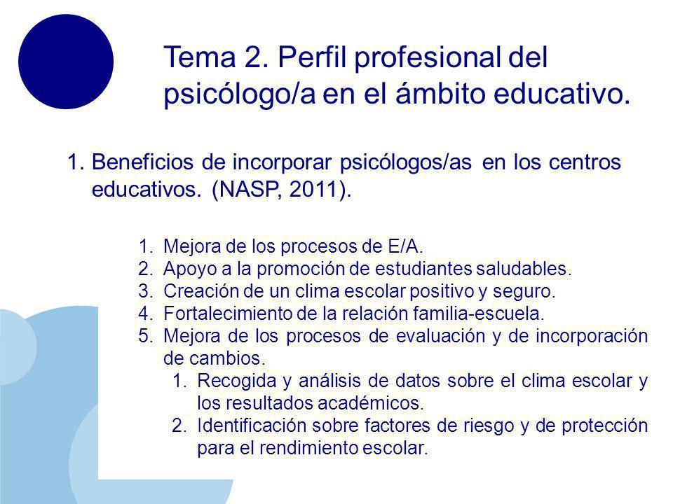 Tema 2. Perfil profesional del psicólogo/a en el ámbito educativo.