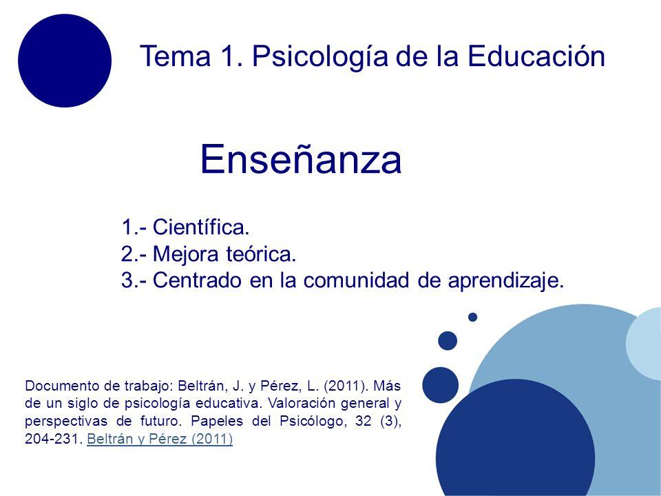 Enseñanza Tema 1. Psicología de la Educación 1.- Científica.
