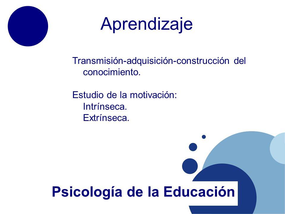 Aprendizaje Psicología de la Educación