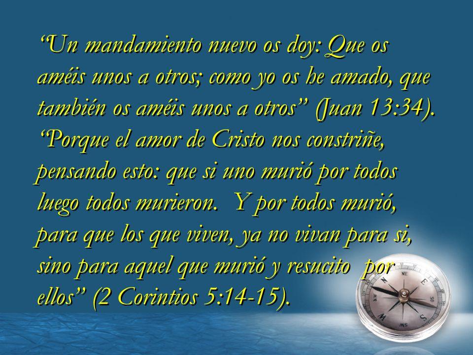 Un mandamiento nuevo os doy: Que os améis unos a otros; como yo os he amado, que también os améis unos a otros (Juan 13:34).