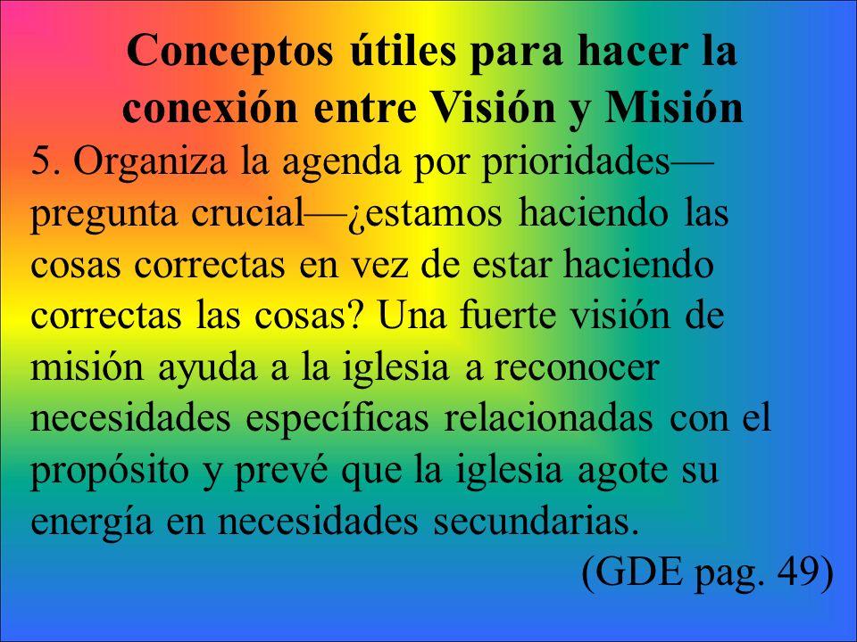 Conceptos útiles para hacer la conexión entre Visión y Misión