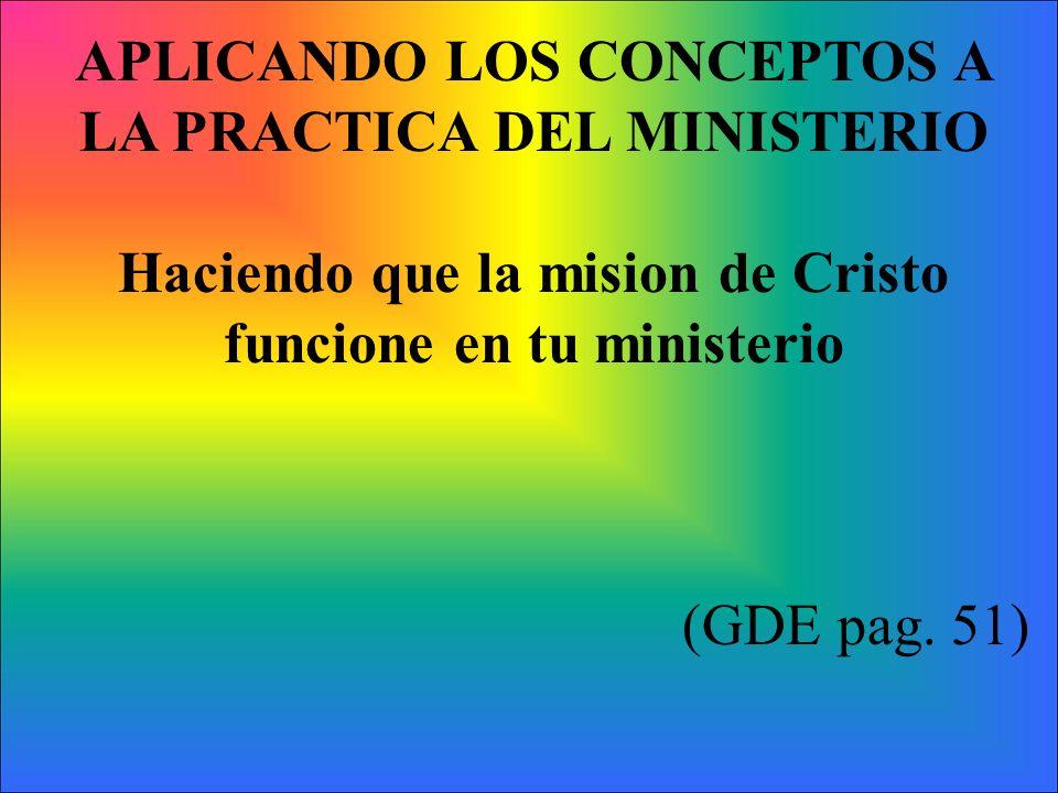 APLICANDO LOS CONCEPTOS A LA PRACTICA DEL MINISTERIO