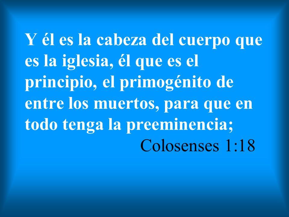 Y él es la cabeza del cuerpo que es la iglesia, él que es el principio, el primogénito de entre los muertos, para que en todo tenga la preeminencia; Colosenses 1:18