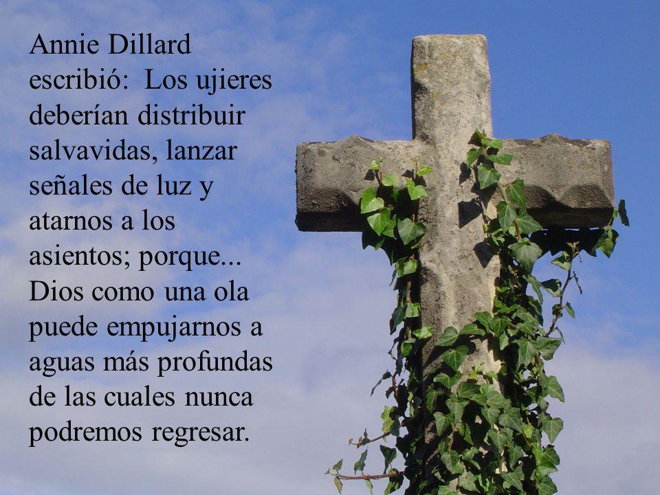 Annie Dillard escribió: Los ujieres deberían distribuir salvavidas, lanzar señales de luz y atarnos a los asientos; porque...