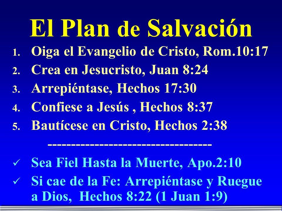 El Plan de Salvación Oiga el Evangelio de Cristo, Rom.10:17