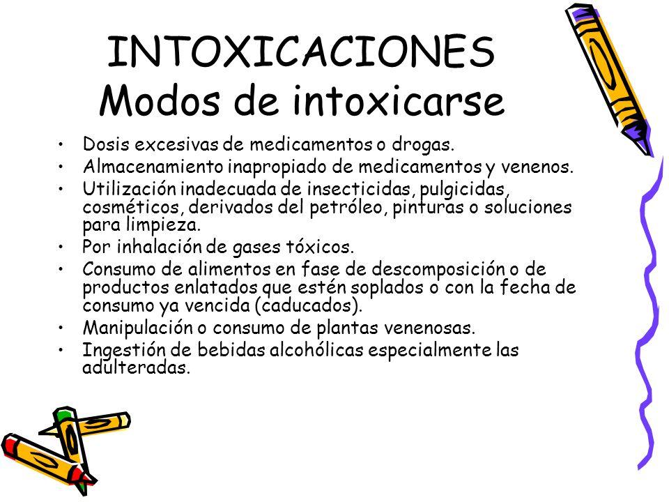 INTOXICACIONES Modos de intoxicarse