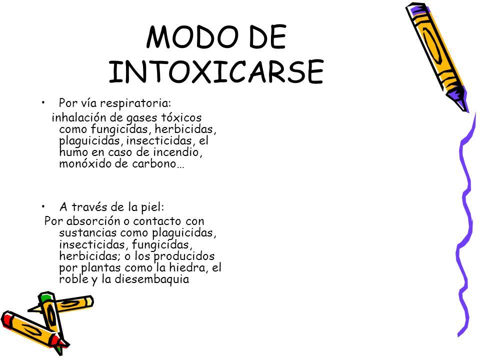 MODO DE INTOXICARSE Por vía respiratoria: