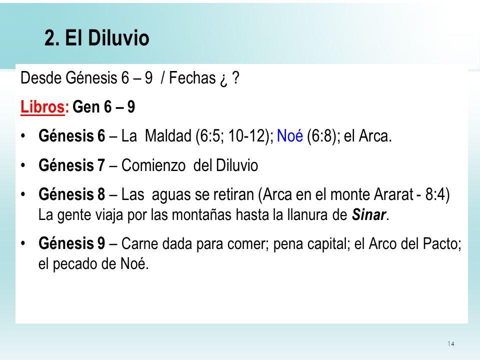 2. El Diluvio Desde Génesis 6 – 9 / Fechas ¿ Libros: Gen 6 – 9