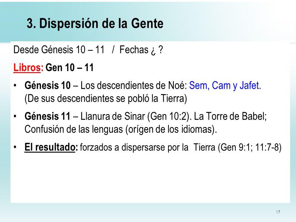 3. Dispersión de la Gente Desde Génesis 10 – 11 / Fechas ¿