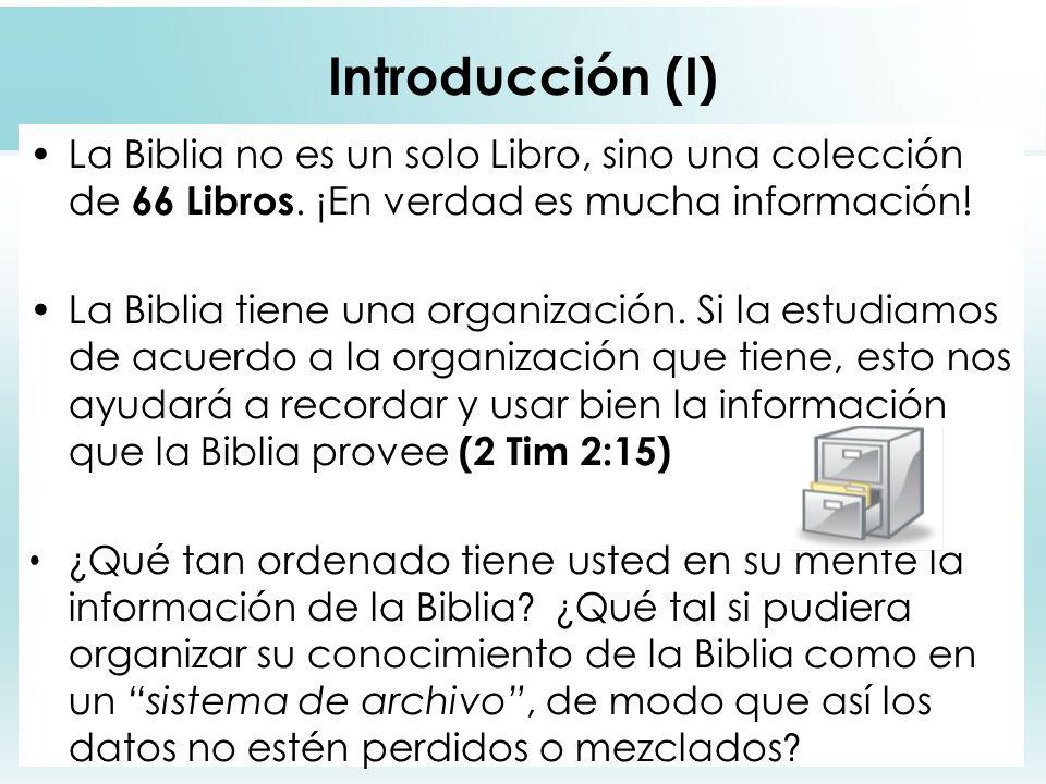 Introducción (I) La Biblia no es un solo Libro, sino una colección de 66 Libros. ¡En verdad es mucha información!
