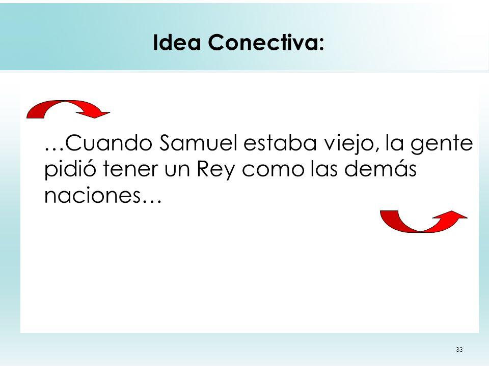 Idea Conectiva: …Cuando Samuel estaba viejo, la gente pidió tener un Rey como las demás naciones…