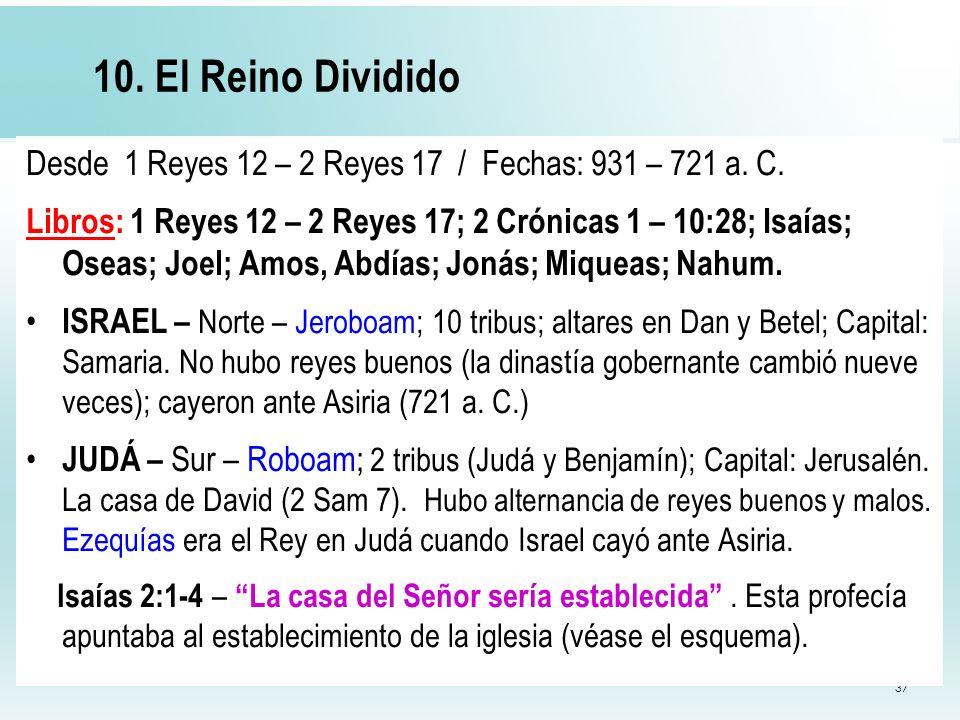 10. El Reino Dividido Desde 1 Reyes 12 – 2 Reyes 17 / Fechas: 931 – 721 a. C.