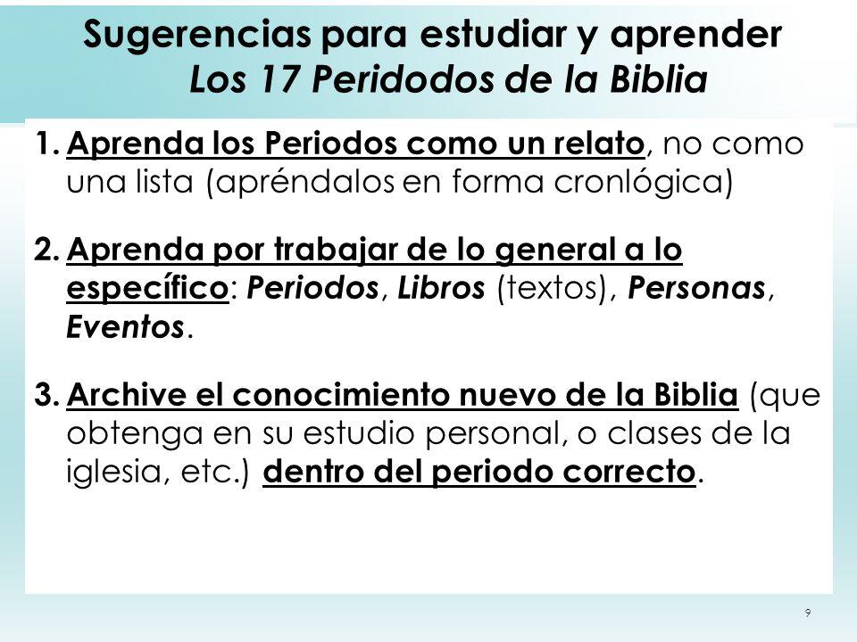 Sugerencias para estudiar y aprender Los 17 Peridodos de la Biblia