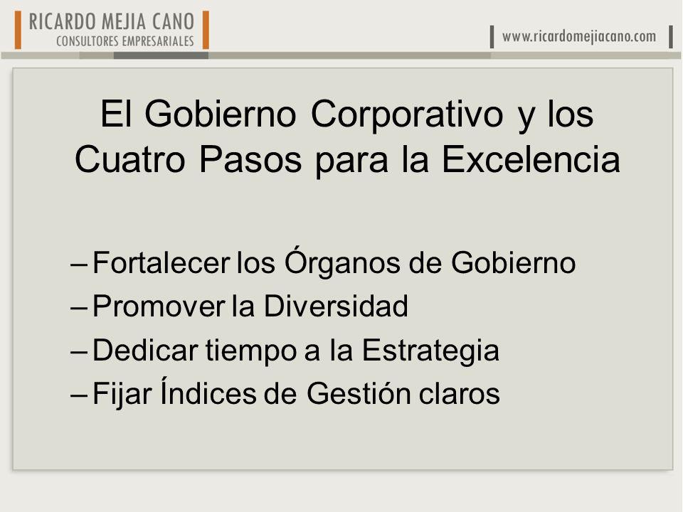 El Gobierno Corporativo y los Cuatro Pasos para la Excelencia
