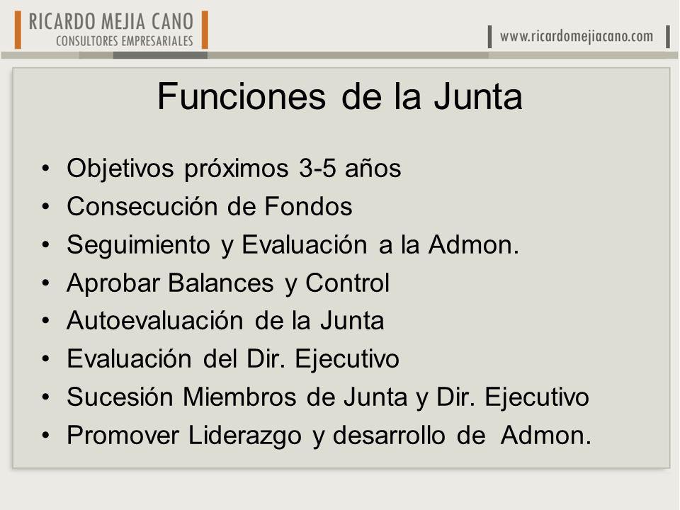 Funciones de la Junta Objetivos próximos 3-5 años