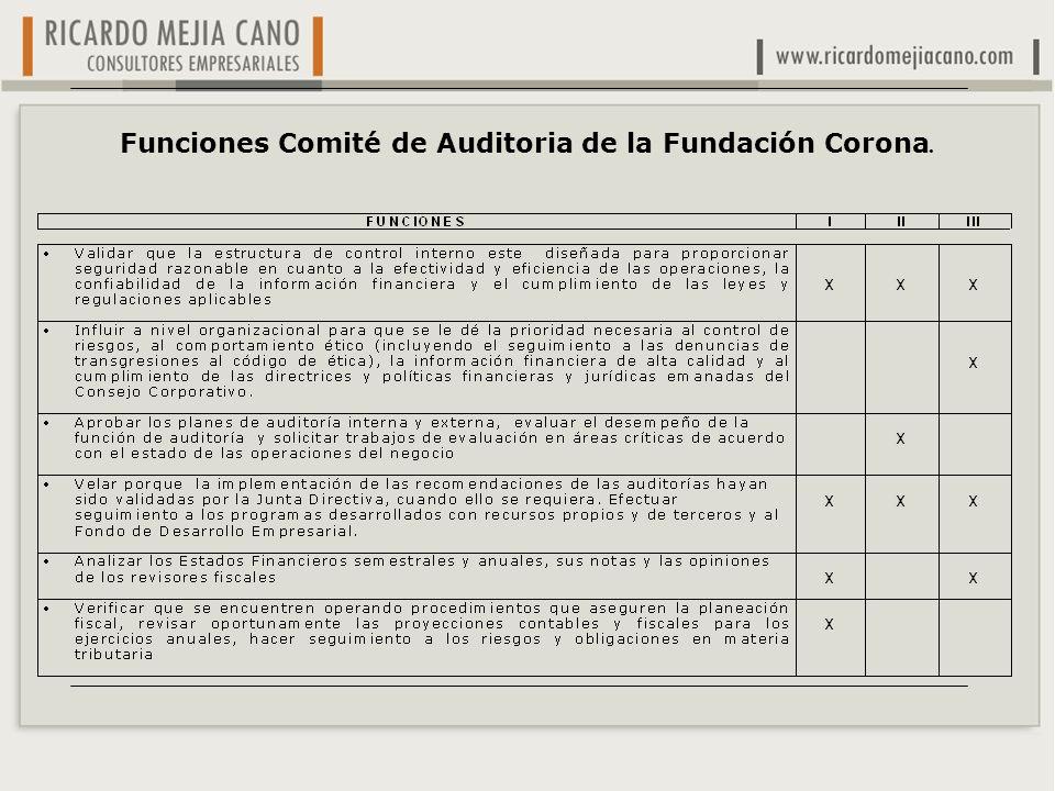Funciones Comité de Auditoria de la Fundación Corona.