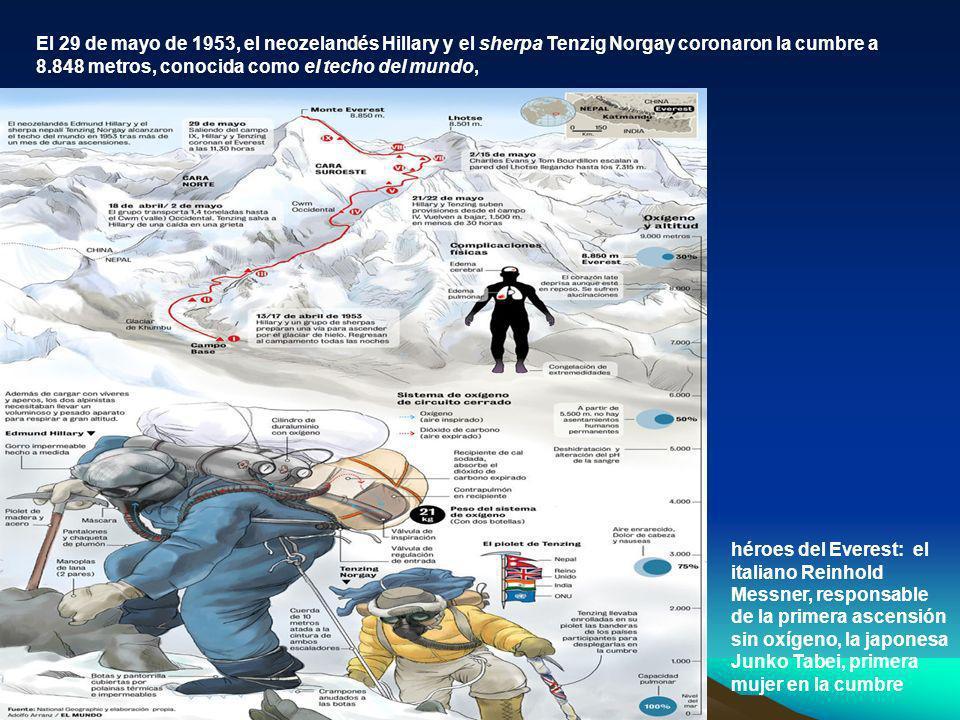 El 29 de mayo de 1953, el neozelandés Hillary y el sherpa Tenzig Norgay coronaron la cumbre a 8.848 metros, conocida como el techo del mundo,