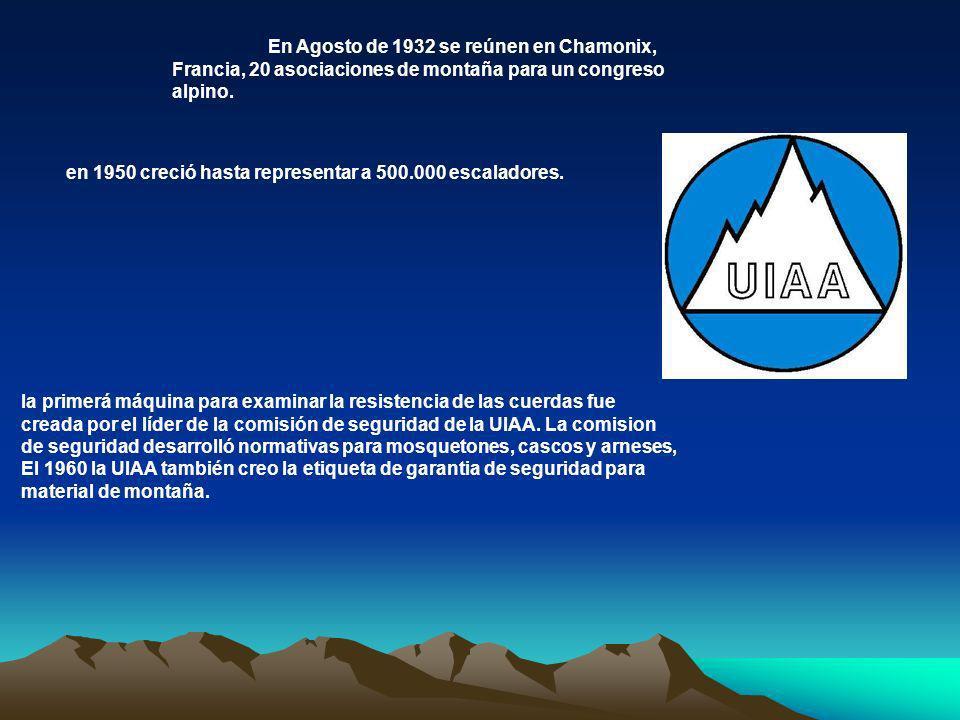 En Agosto de 1932 se reúnen en Chamonix, Francia, 20 asociaciones de montaña para un congreso alpino.