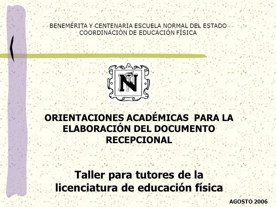 Taller para tutores de la licenciatura de educación física