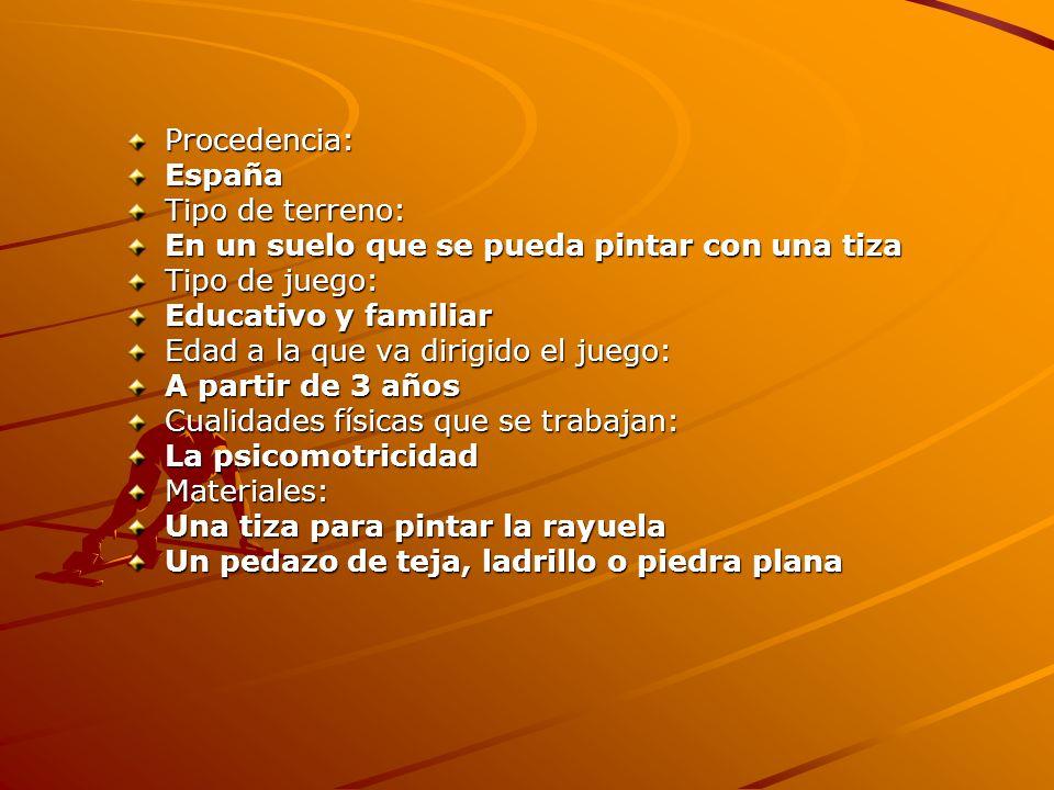 Procedencia:España. Tipo de terreno: En un suelo que se pueda pintar con una tiza. Tipo de juego: Educativo y familiar.