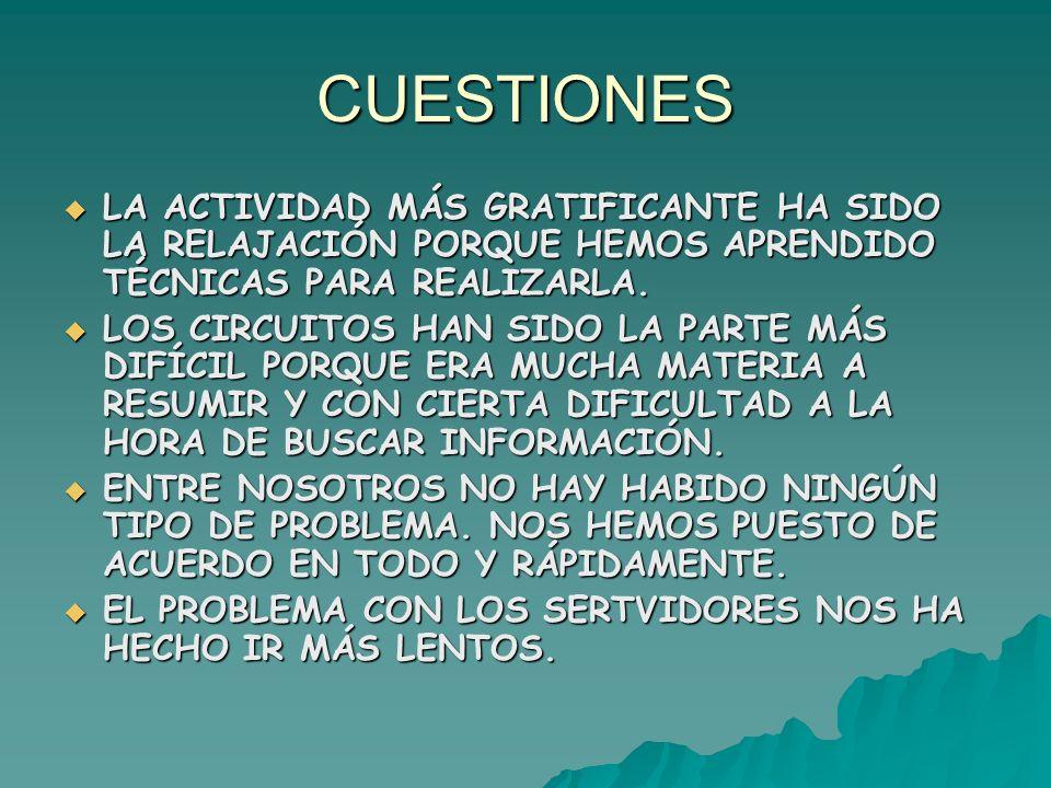 CUESTIONES LA ACTIVIDAD MÁS GRATIFICANTE HA SIDO LA RELAJACIÓN PORQUE HEMOS APRENDIDO TÉCNICAS PARA REALIZARLA.