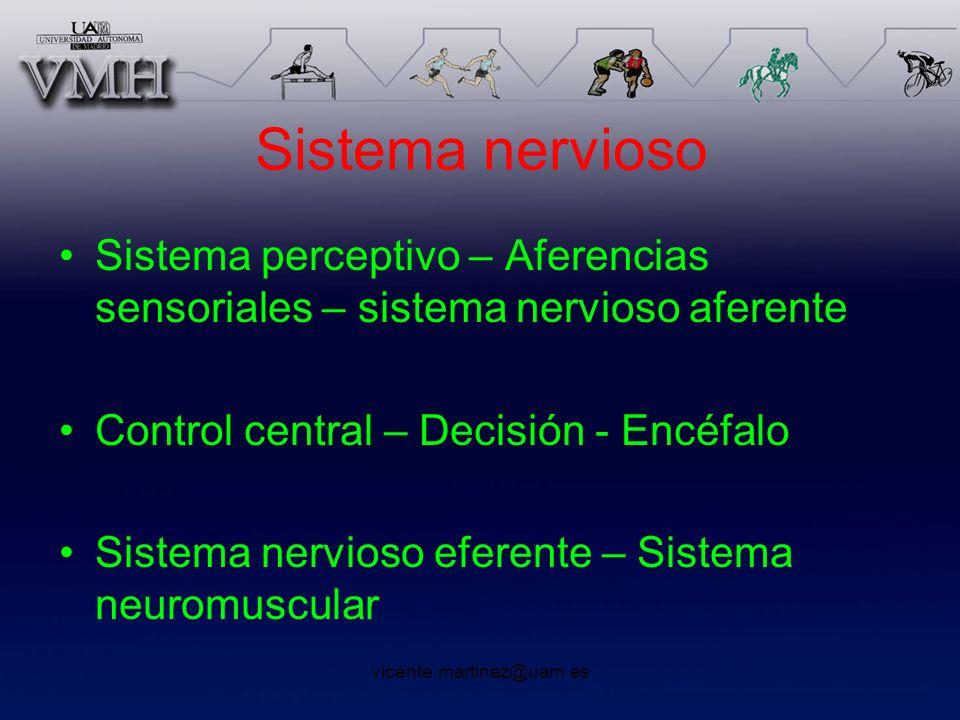 Sistema nervioso Sistema perceptivo – Aferencias sensoriales – sistema nervioso aferente. Control central – Decisión - Encéfalo.