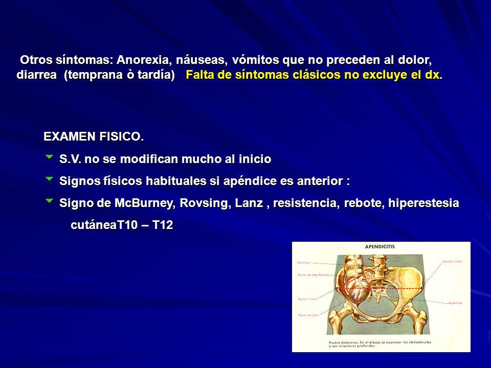 Otros síntomas: Anorexia, náuseas, vómitos que no preceden al dolor, diarrea (temprana ò tardía) Falta de síntomas clásicos no excluye el dx.