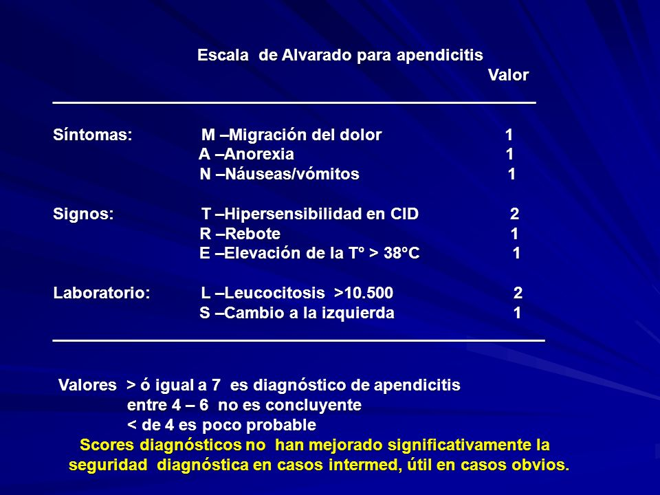 Escala de Alvarado para apendicitis Valor