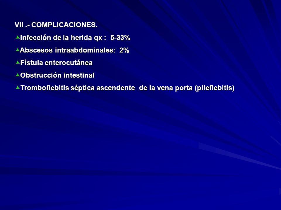 VII .- COMPLICACIONES. Infección de la herida qx : 5-33% Abscesos intraabdominales: 2% Fístula enterocutánea.
