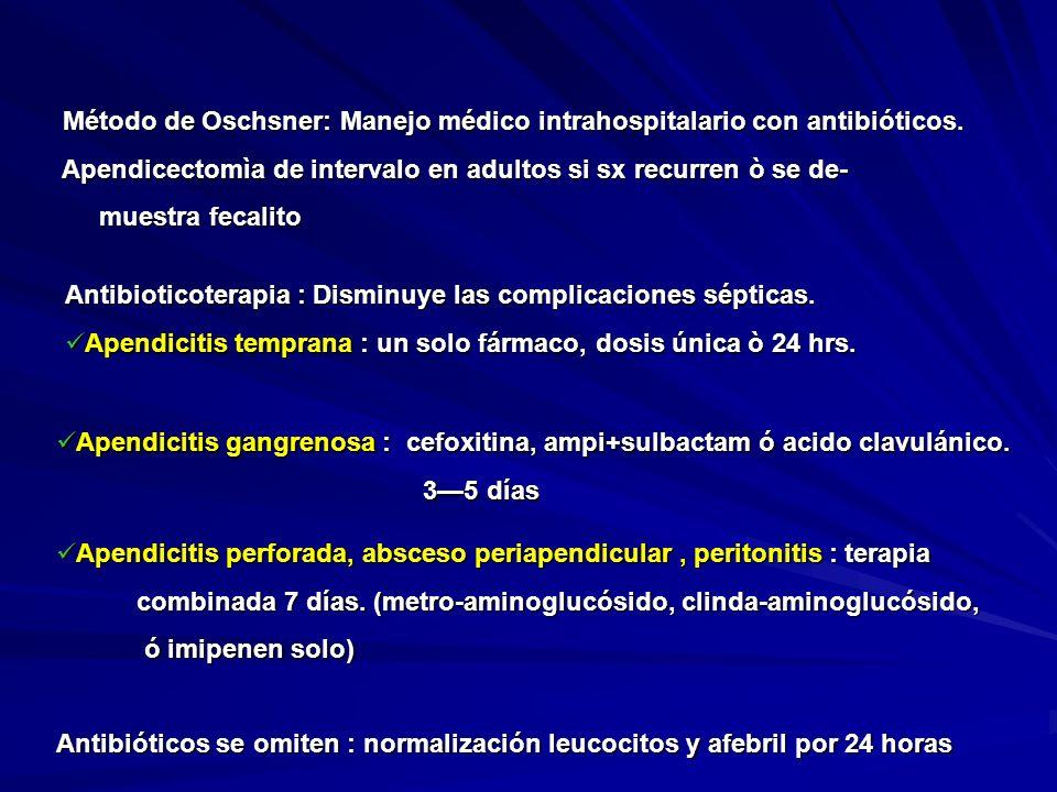 Método de Oschsner: Manejo médico intrahospitalario con antibióticos.