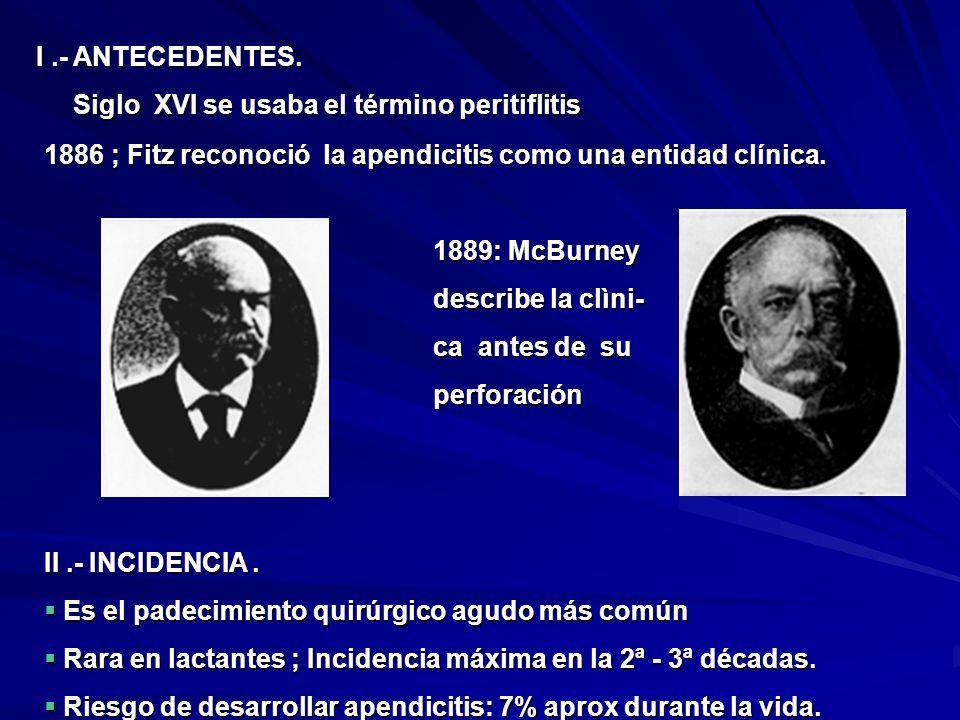 I .- ANTECEDENTES. Siglo XVI se usaba el término peritiflitis. 1886 ; Fitz reconoció la apendicitis como una entidad clínica.