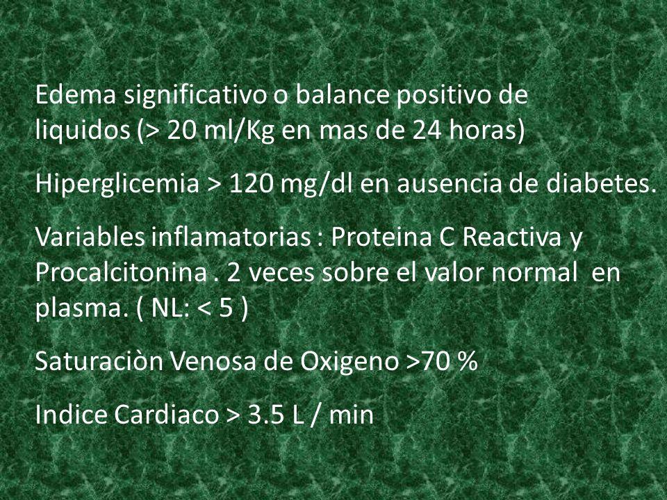 Edema significativo o balance positivo de liquidos (> 20 ml/Kg en mas de 24 horas)
