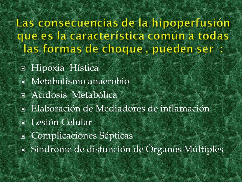 Las consecuencias de la hipoperfusión que es la característica común a todas las formas de choque , pueden ser :