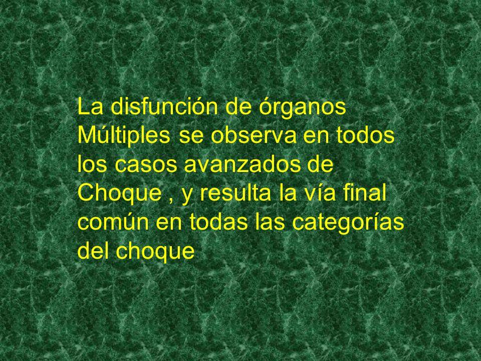 La disfunción de órganos Múltiples se observa en todos los casos avanzados de Choque , y resulta la vía final común en todas las categorías del choque