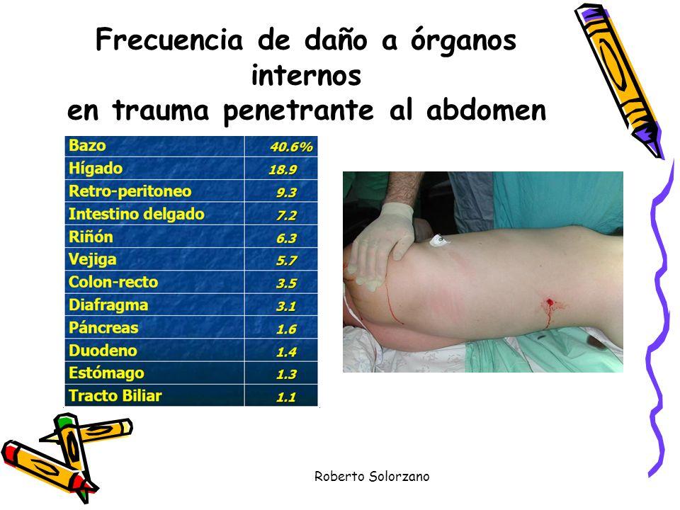 Frecuencia de daño a órganos internos en trauma penetrante al abdomen