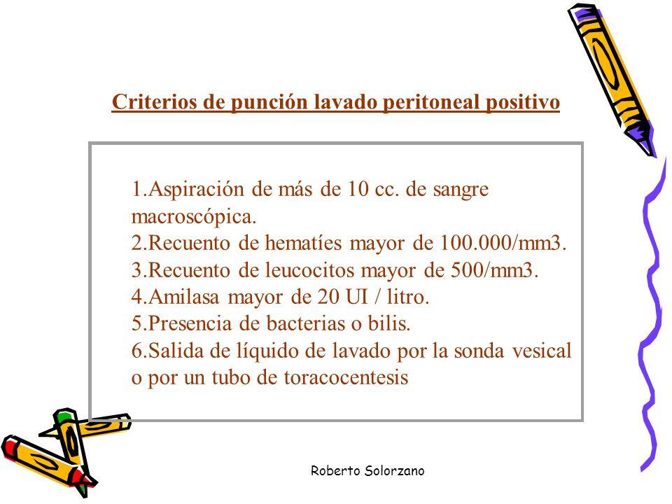 Criterios de punción lavado peritoneal positivo