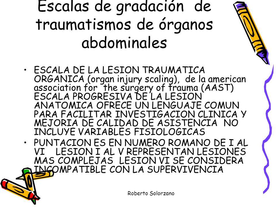 Escalas de gradación de traumatismos de órganos abdominales