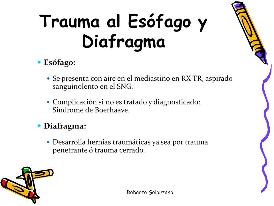 Trauma al Esófago y Diafragma