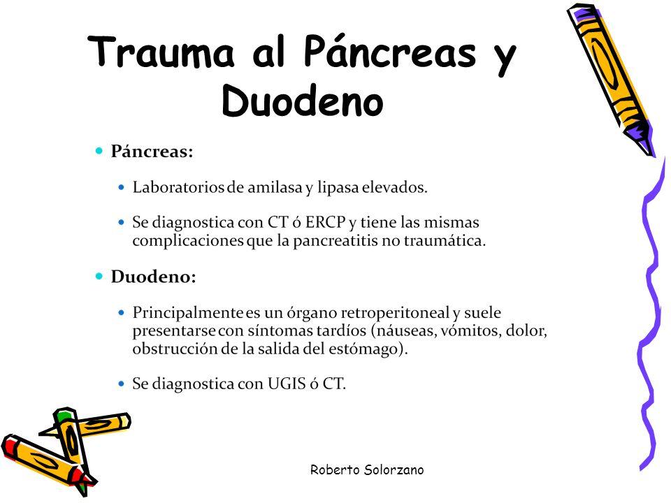Trauma al Páncreas y Duodeno